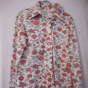 Vintage 1960s 1970s Sz M or L Pretty Floral Top